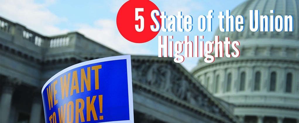 Five Highlights from the State of the Union (Congress and AFGE Sign)