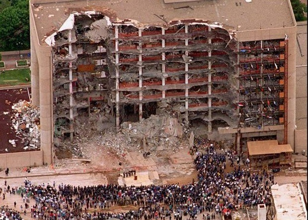 Alfred P. Murrah Federal Building, after the bombing in 1995.
