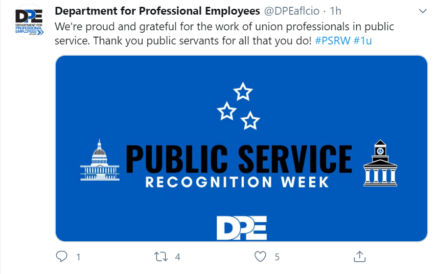 Tweet from Department of Professional Employees